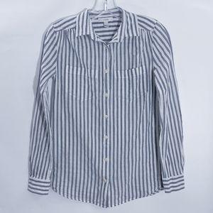 JCrew Cotton Button up Top, Blue & White Stripe